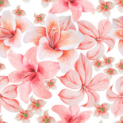 Bright seamless pattern with flowers. Lily. Hibiscus. Watercolor illustration. Hand drawn.