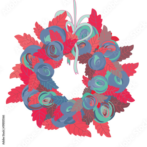 Vector Illustration Of Pink And Purple Roses With Leaves Turquoise Ribbon