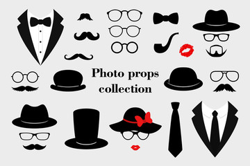 Photo props collections. Retro party set with glasses, mustache, beard, hats, texedo and lips. Vector