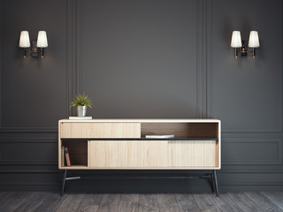 Dark classic interior with wooden cabinet. 3d rendering