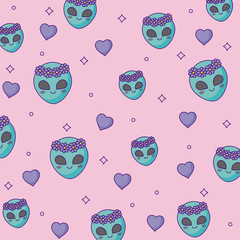 cute aliens face background