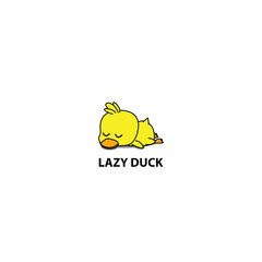 Lazy duck, cute duckling sleeping icon, logo design, vector illustration