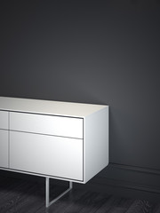 White cabinet in dark interior. 3d rendering