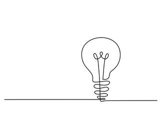 Continuous line drawing. Electic light bulb. Eco idea metaphor. Vector illustration Fototapete