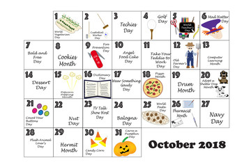 October 2018 Quirky Holidays and Unusual Events