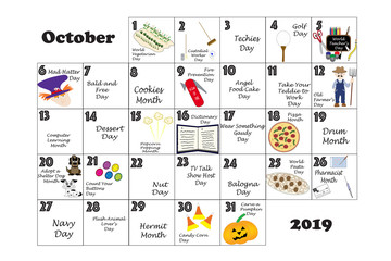 October 2019 Quirky Holidays and Unusual Events