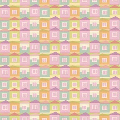 Vector illustration of colorful colorful small houses with windows and roofs square seamless pattern pink