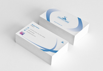 Business Card Layout with Blue Gradient Ribbon Elements
