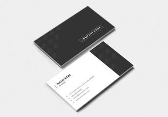 Dark Gray and White Business Card Layout with Pattern