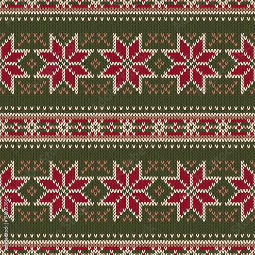 Traditional Winter Holiday Seamless Knitting Pattern Christmas