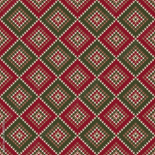 Argyle Abstract Seamless Knitting Pattern Christmas Knitted Sweater
