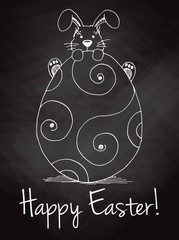 Sketch of Easter bunny and Easter egg on the chalkboard. Vector. Happy easter.