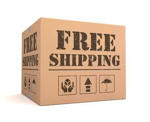 free shipping cardboard box 3d illustration