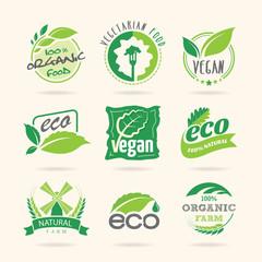 Ecology & vegan, vegetarian icon set