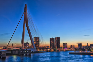 Foto op Canvas Oceanië Travel Concepts, Ideas and Destinations. Amazing Cool View of Rotterdam Skyline with Erasmus Bridge on Foregorund During Blue Hour.
