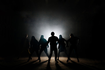 concept of street dance style. freestyle. dance industry. hobby. free time activity.returning of deads. vampires waking up
