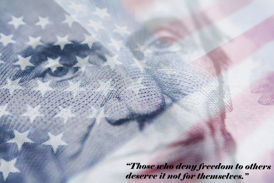American Flag With Abraham Lincoln Quote