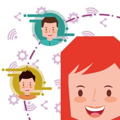 woman cartoon face avatar people social media background icons vector illustration