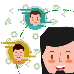 happy young man face and people social media apps background vector illustration