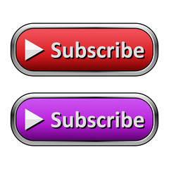 Metallic subscribe button with an arrow on the left. Red and purple versions. Isolated on white
