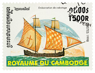 Ancient sailing boat on postage stamp