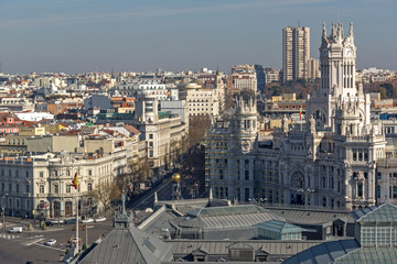 Panoramic view of city of Madrid from Circulo de Bellas Artes, Spain