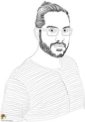 Man with a man-bun in striped tee wearing glasses