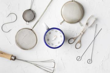 Vintage kitchen utensils on a background, fork, kifes, spoons