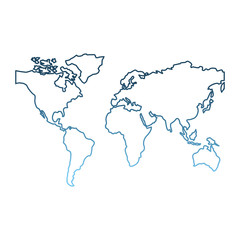 world map continents global image vector illustration gradient blue color