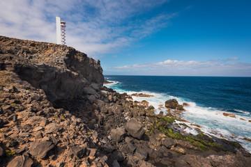 Coast landscape and lighthouse in Buenavista, north tenerife island, Canary islands, Spain.