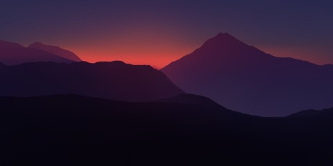 Pink and purple twilight in the mountains. Realistic vector illustration.