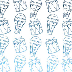 carnival funfair festive pattern hot air balloon and drum vector illustration gradient blue color