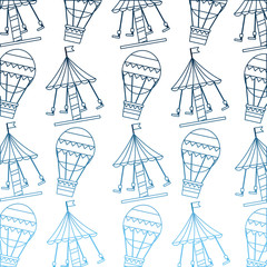 carnival funfair festive pattern hot air balloon carousel vector illustration  gradient blue color