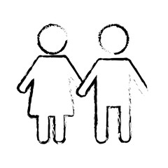 pictogram male and female couple holding hands vector illustration sketch design