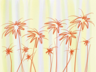 Colorful hand drawn abstract silhouette of orange transparent palms on yellow and blue watercolor background, colorful nature illustration painted by watercolor, pen and pencil chalk, high quality