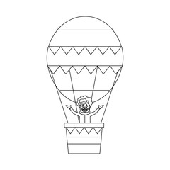 carnival circus clown flying with hot air balloon vector illustration outline design