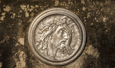 Silver face of Jesus Christ crown of thorns (bas-relief)