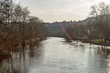 The Saale in Jena with the sun in the background