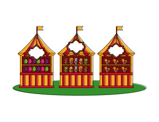 carnival circus booths shooting game ducks animals and target vector illustration