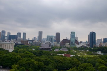 Tokyo Skyline (cityscape): Gigantic modern skyscrapers / highrise buildings of Japan's largest city with a lush green inner city park and a cloudy sky showing the symbiosis of technology and nature