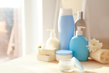 Wall Mural - Set of body care products on table