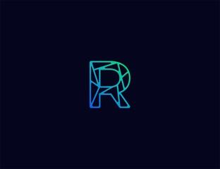 Abstract line art  logo. letter R  tech logo template