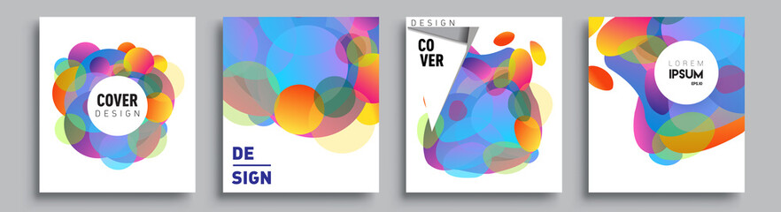 Modern abstract covers set. Cool gradient shapes composition and liquid colors, vector covers design.