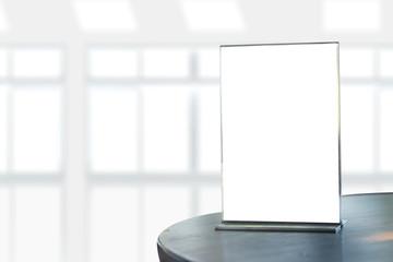 Stand  Mock up Menu frame  tent card  blurred background  design key visual layout ONLINE ADVERTISING