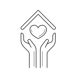 Hands holding house with heart vector line icon isolated on white background. House insurance line icon for infographic, website or app.