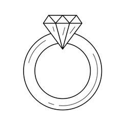 Diamond ring vector line icon isolated on white background. Jewellery - diamond ring line icon for infographic, website or app.