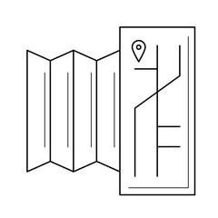 Fototapeta Tourist map, regional guide vector line icon isolated on white background obraz