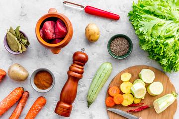 Diet vegetarian vegan food. Ratatouille or vegetable ragout. Stone table background top view