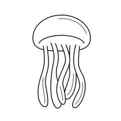 Jellyfish line icon isolated on white background. Jellyfish line icon for infographic, website or app. Icon designed on a grid system.