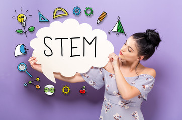 STEM with young woman holding a speech bubble
